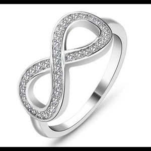 Infinity 925 Silver White Sapphire Ring New